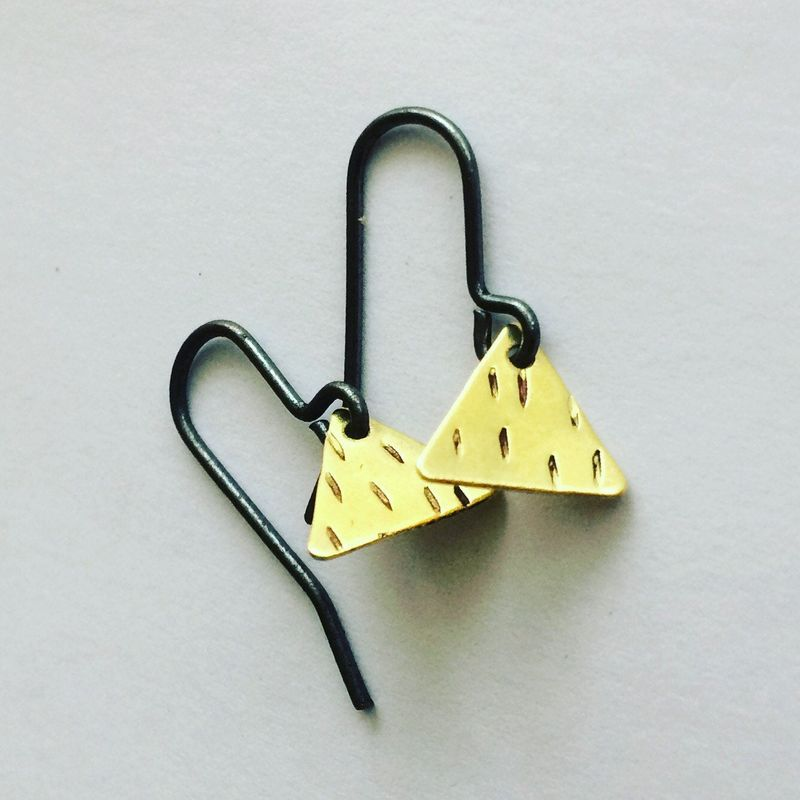 Golden Brass Triangle Earrings  - product images  of