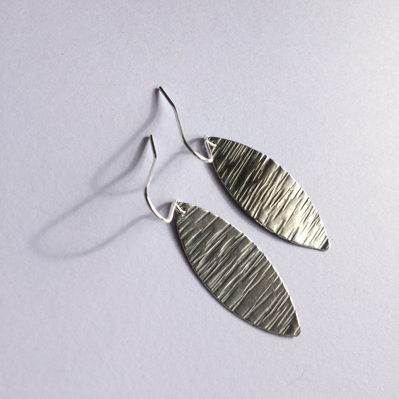 Silver Tone Striped Leaf Earrings  - product images  of
