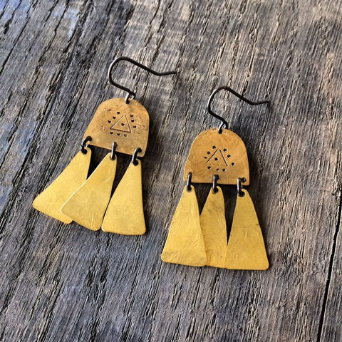 PROTECTION,Brass,Chandelier,Earrings,hand_stamped,symbol_earrings,large_earrings,statement_earrings,Berber_Earrings,gypsy_earrings,festival_earrings,tribal_earrings,brass_earrings,gold_earrings,hammered_earrings,dangle,evil_eye