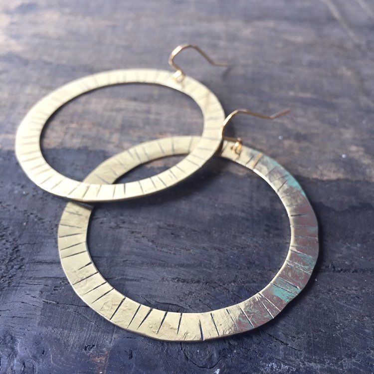 Lined Chunky Gold Brass Hoops  - product images  of