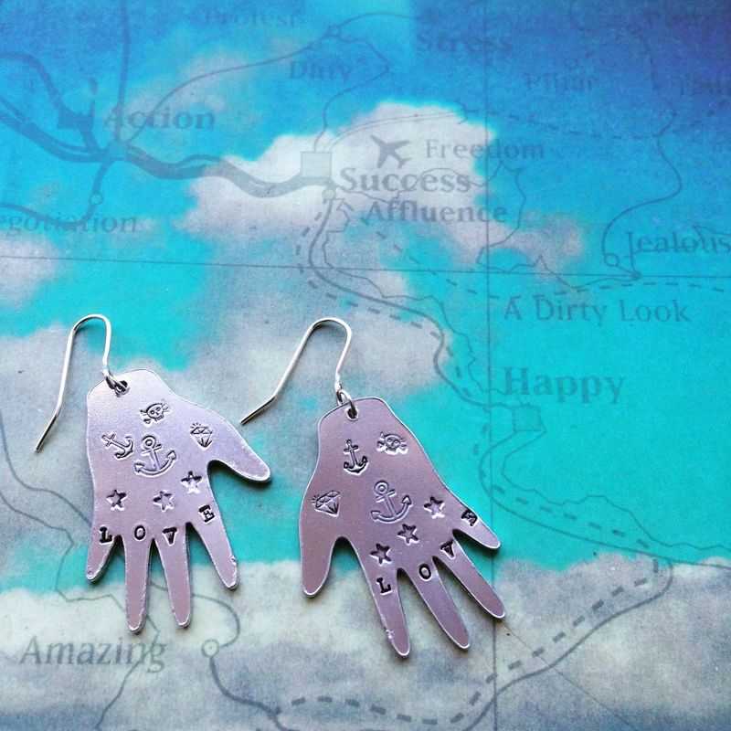 Large Aluminium Healing Hands Earrings  - product images  of