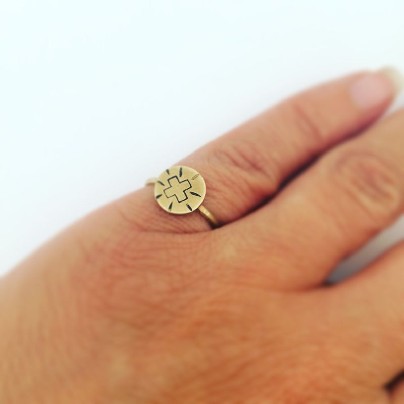 Positivity Circular Ring in Golden Brass - product images  of