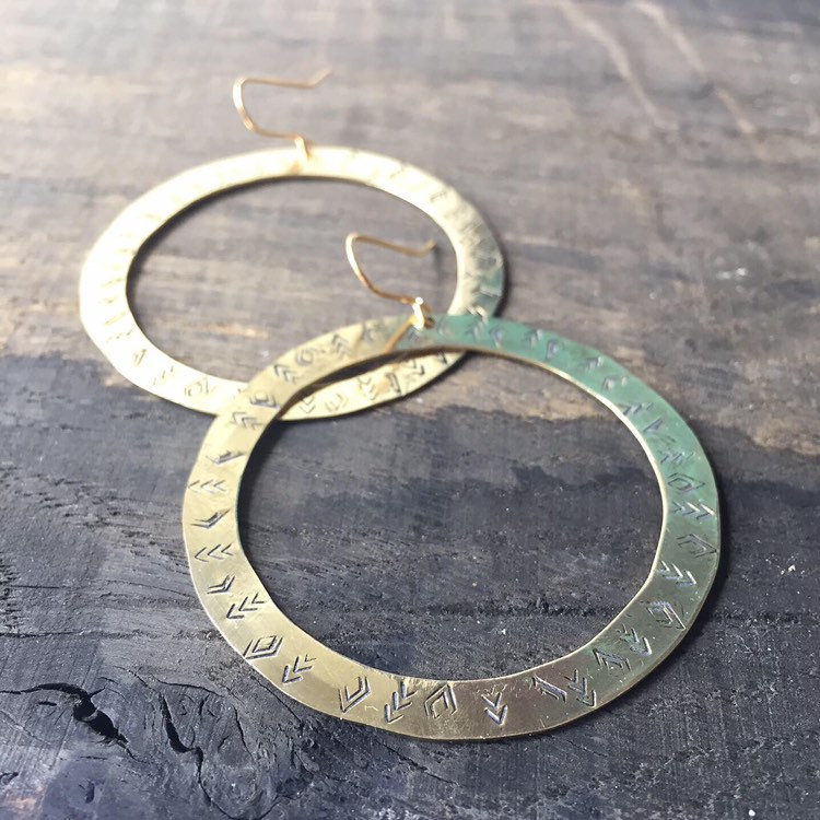Patterned Chunky Gold Brass Hoops Earrings - Folk - Tribal - Bohemian - Big - Statement - Festival - Diamonds - Chevrons - product images  of