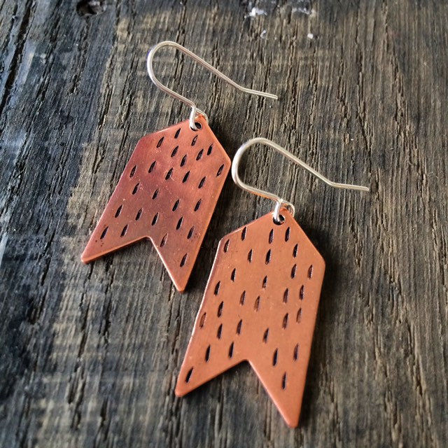Copper Chevron Dash Earrings Punched Boho Bohemian Festival Geometric Modern Contemporary Minimal Minimalist Delicate Feminine Statement - product images  of