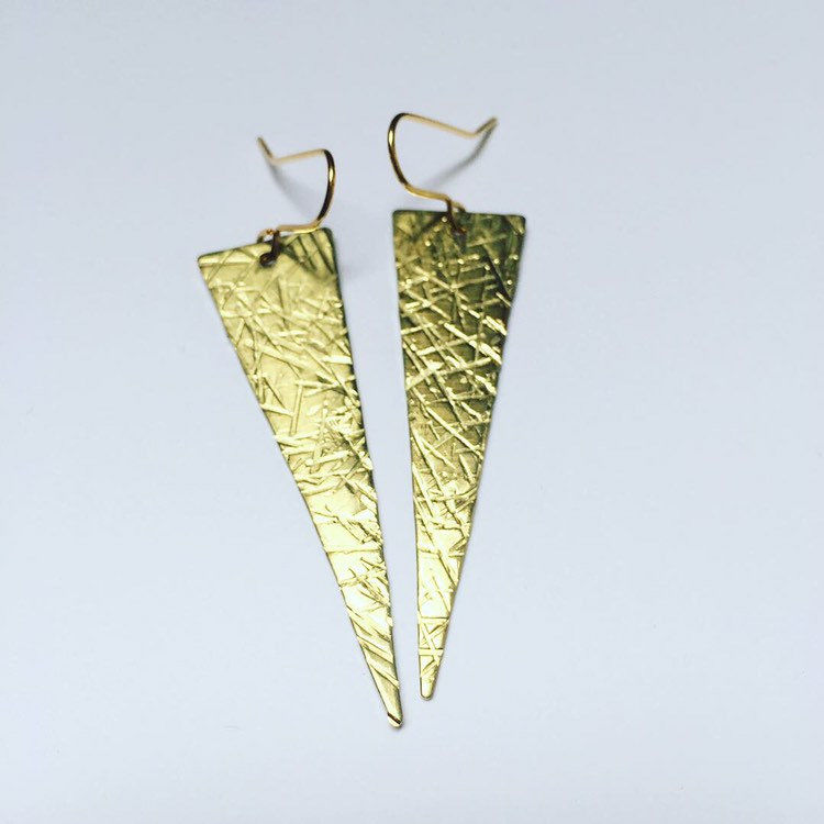 Long Golden Brass Crosshatched Triangle Earrings  - product images  of