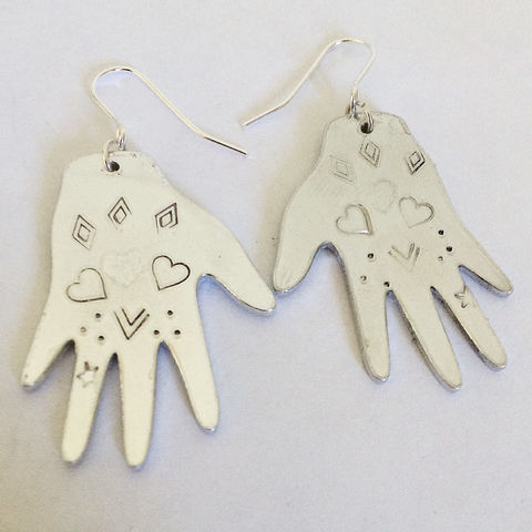 Aluminium,Heart,Healing,Hands,Earrings,aluminium_earrings,heart_earrings,tattoo_earrings,hand_earrings,Mexican_tin,festival_earrings,gypsy_earrings,large_earrings,silver_earrings,folk,Milagro_earrings,healing_hands,reiki