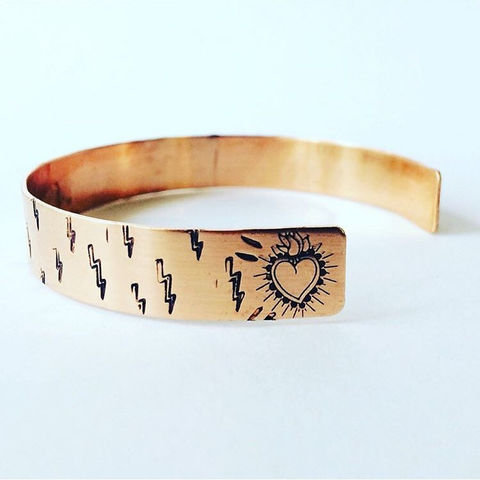 Journey,Cuff,in,Copper,stamped_jewellery,heart,lightening,copper_cuff,journey_cuff,strength,love,Positivity,divine_feminine,affirmation,talisman,healing_jewellery,individual_jewellery
