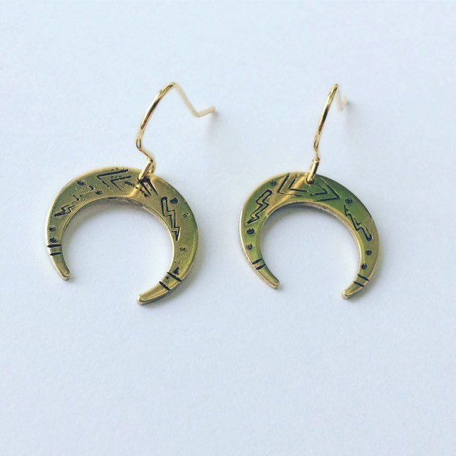 Golden Brass Venus Moon Earrings  - product images  of