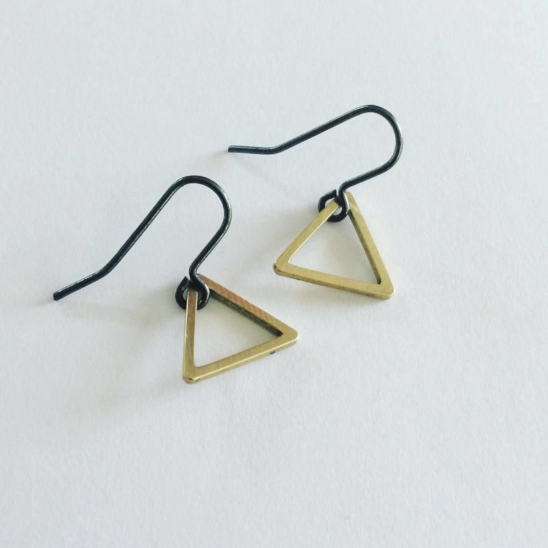 Gold Raw Brass Triangle Earrings on Black Ear Wires Geometric Modern Simple Minimal Minimalist Stylish Delicate Strong Feminine Gift Power - product images  of