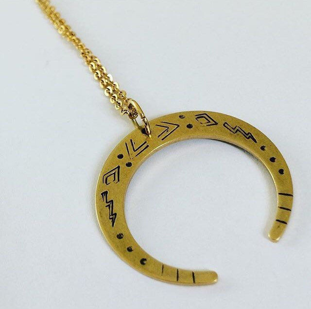 Crescent Venus Moon Necklace in Brass  - product images  of