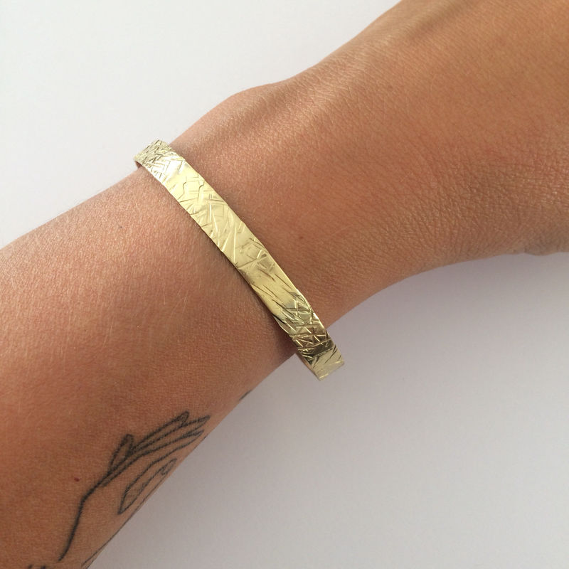 Hammered Crosshatch Cuff in Golden Brass - product images  of