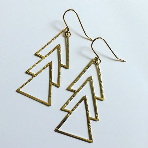 Triple,Triangle,Earrings,in,Brass,hammered brass earrings triangle jewellery geometric accessories stuff made from things