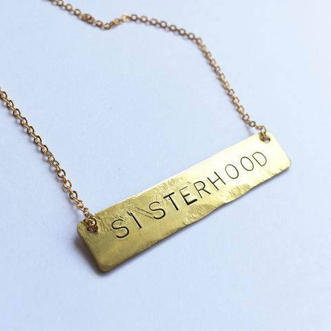 SISTERHOOD,Brass,Necklace,sisterhood, sisterhood necklace, feminist necklace, feminism necklace, gold necklace, slogan necklace, sister, sister necklace,