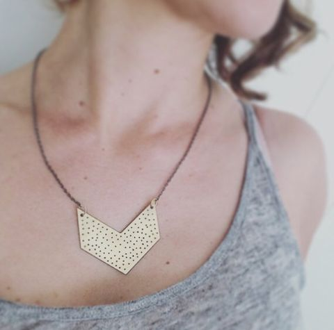 Large,Chevron,Necklace,in,Brass,chevron necklace, brass necklace, gold necklace, geometric necklace, armour, healing jewellery