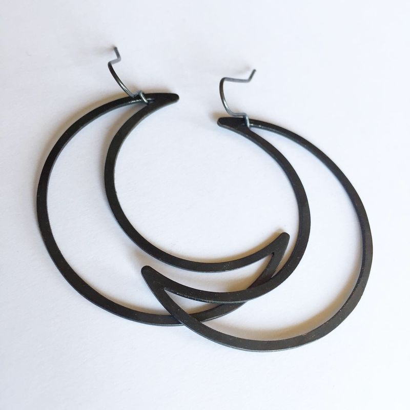 Black Big Mamma Moon Earrings - product images  of