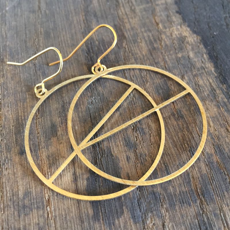 Brass Hoops with Line  - product images  of