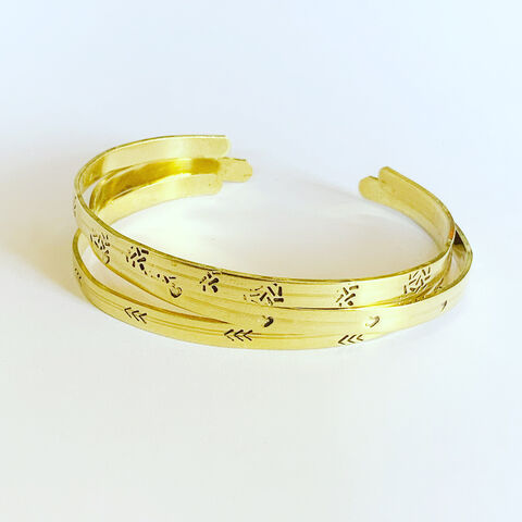 Three,Slim,Brass,Cuffs,-,Lucky,Dip,Three Slim Brass Cuffs - Lucky Dip - Patterned - Tribal - Geometric - Hammered Gold handmade