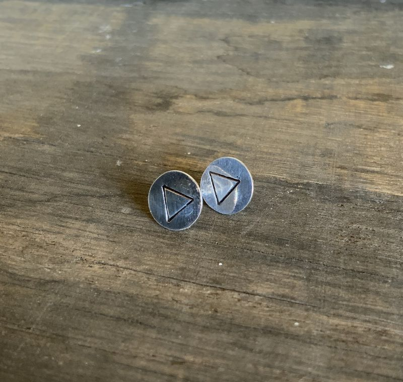 Sterling Silver Disc Studs with Triangles  - product images  of