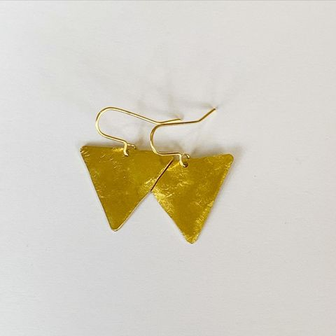 Brass,Equilateral,Triangle,Earrings,Brass triangle earrings handmade hammered