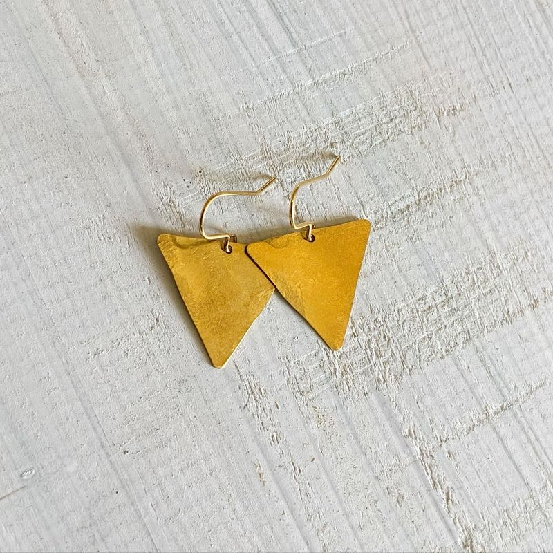 Brass Equilateral Triangle Earrings  - product images  of