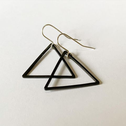 Black,Triangle,Hoop,Earrings,Black triangle earring hoop hoops silver