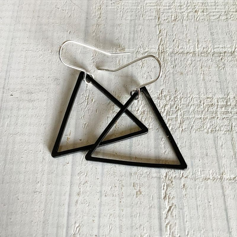 Black Triangle Hoop Earrings - product images  of