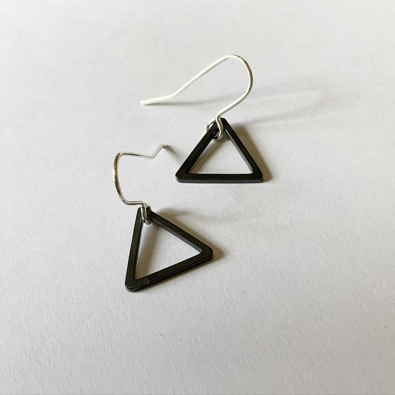 Tiny Black Triangle Hoops  - product images  of