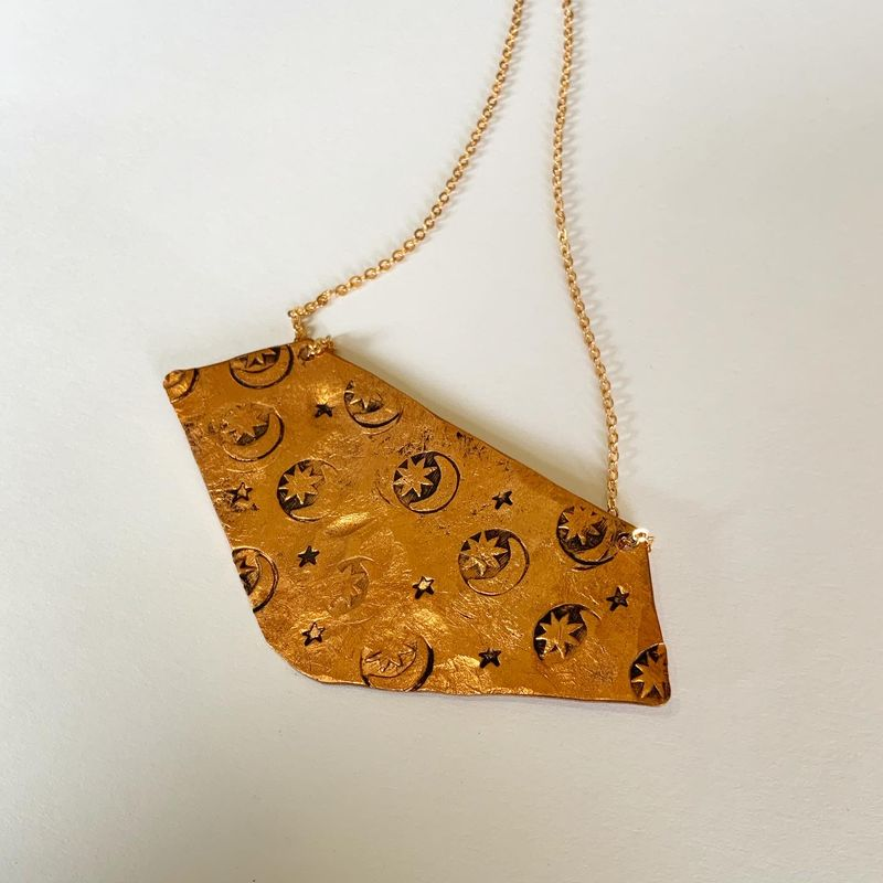 Copper Moon and Stars Bib Necklace  - product images  of