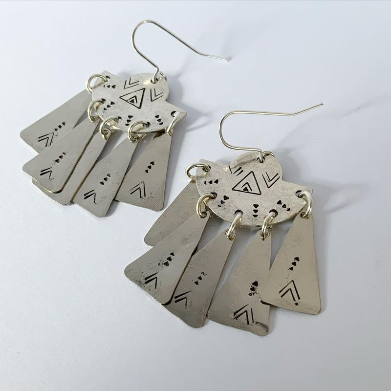 Large Silver Tone Chandelier Earrings   - product images  of