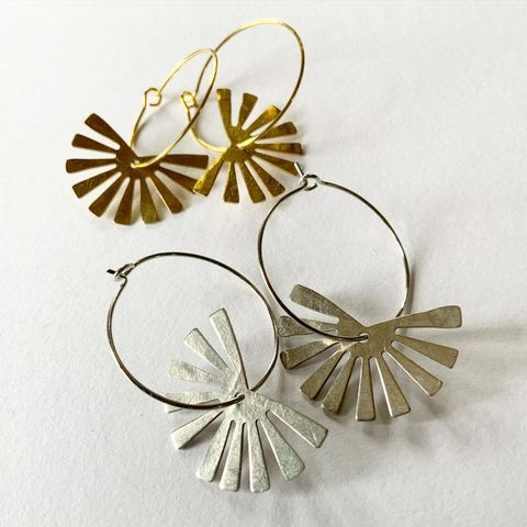 Sunbeam,Earring,Hoops,in,Gold,or,Silver,Sun beam sunbeam hoops gold brass silver tone silver plated earrings earring