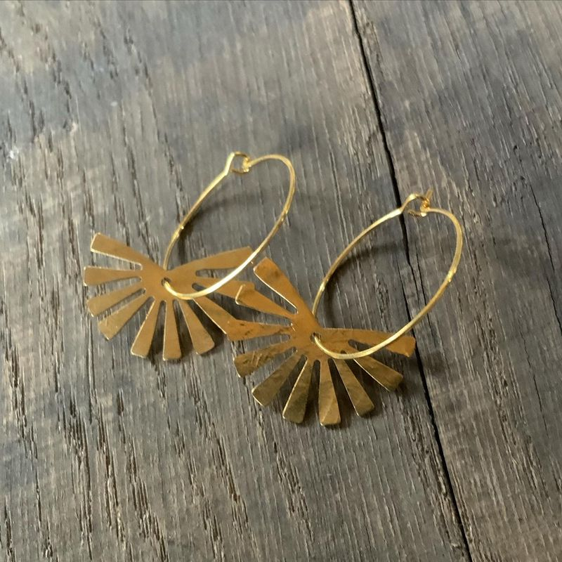 Sunbeam Earring Hoops in Gold or Silver  - product images  of