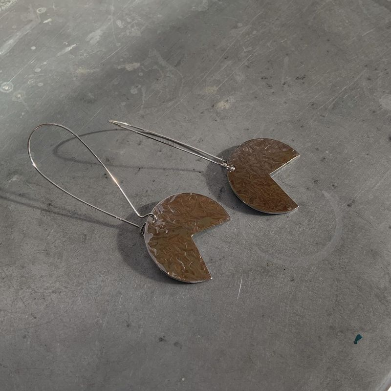 Hammered Silver Tone Segment Earrings - product images  of