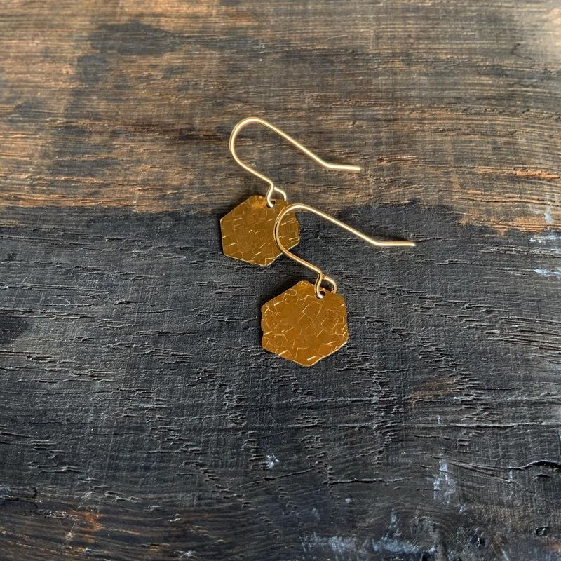 Small Brass Hammered Hexagon Earrings  - product images  of