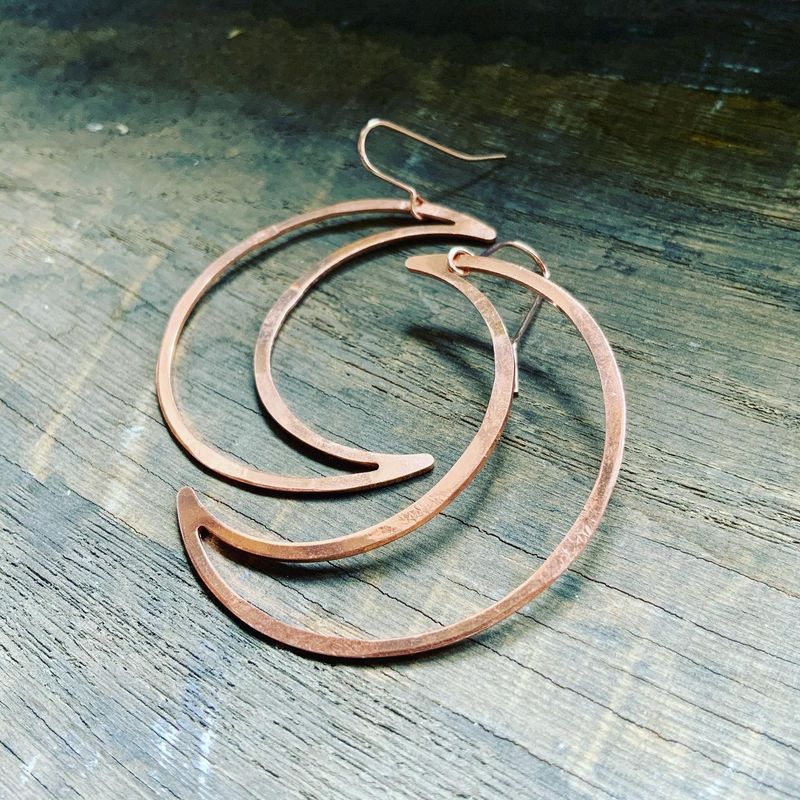 Copper Big Mamma Moons Hoop Earrings - product images  of