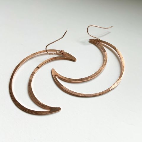 Copper,Big,Mamma,Moons,Hoop,Earrings,Copper Big Mamma Moons Hoop Earrings -Rose Gold - Raw Copper - Celestial - Crescent - Moons