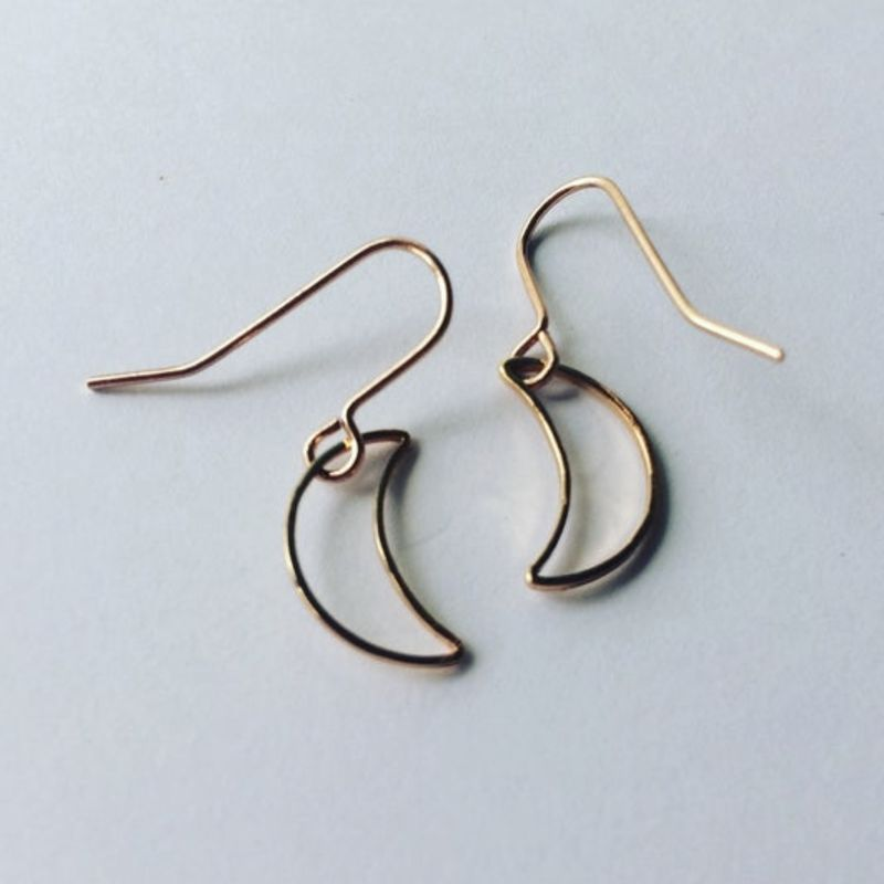Tiny Gold Plated Crescent Moon Hoops  - product images  of