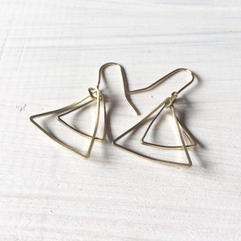 Double,Triangle,Brass,Hoop,Earrings,Double Triangle Brass Hoop Earrings - Gold - Delicate - Simple - Modern - Cool -