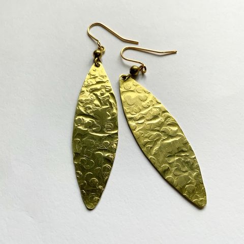 Long,Hammered,Gold,Leaf,Earrings,Long Hammered Gold Leaf Earrings Large drop dangle statement