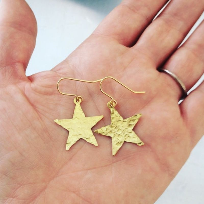 Brass Hammered Star Earrings - product images  of