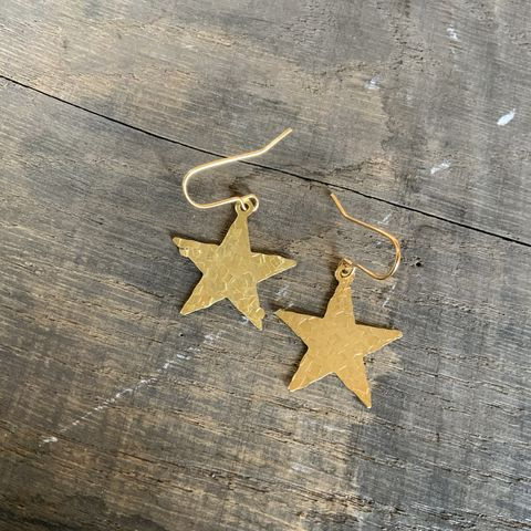 Brass,Hammered,Star,Earrings,Gold Raw Brass Hammered Star Earrings Celestial Golden Dangle Drop Boho Bohemian Festival Gift Gypsy Romantic Mystic Tarot Witch Holiday Chr