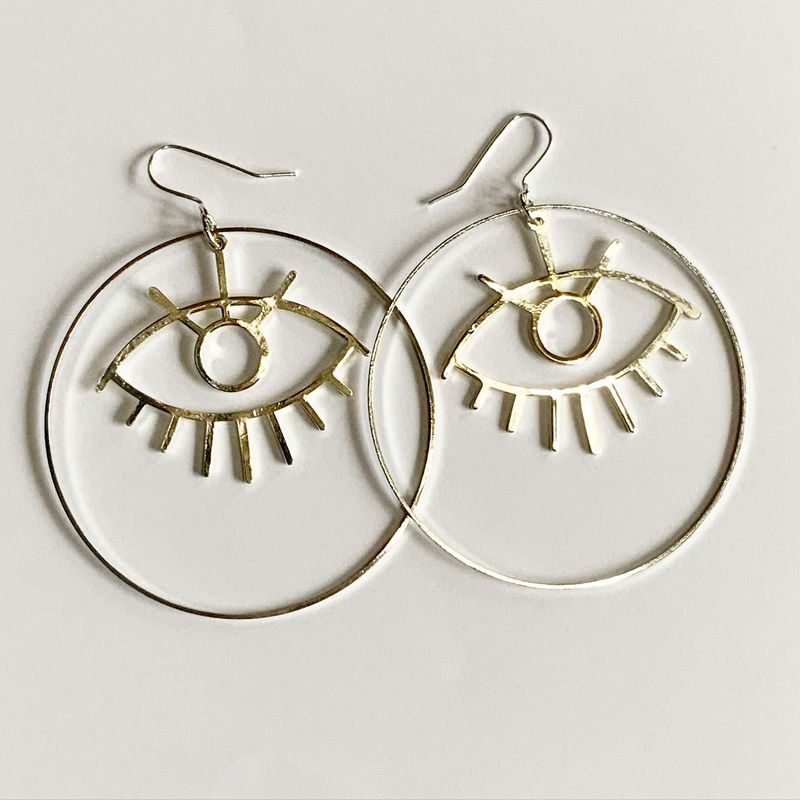 Big Silver Tone Eye Hoops - product images  of