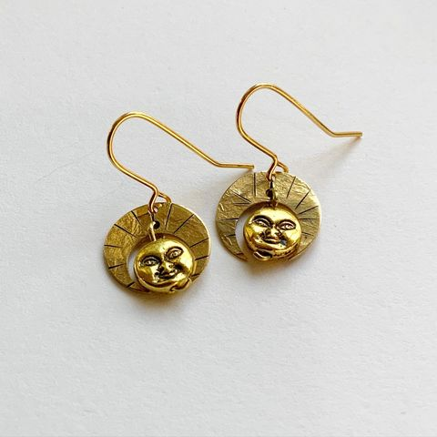 Little,Deity,Gold,Earrings,Little Deity Gold Earrings Brass face sun god goddess fun bohemian boho