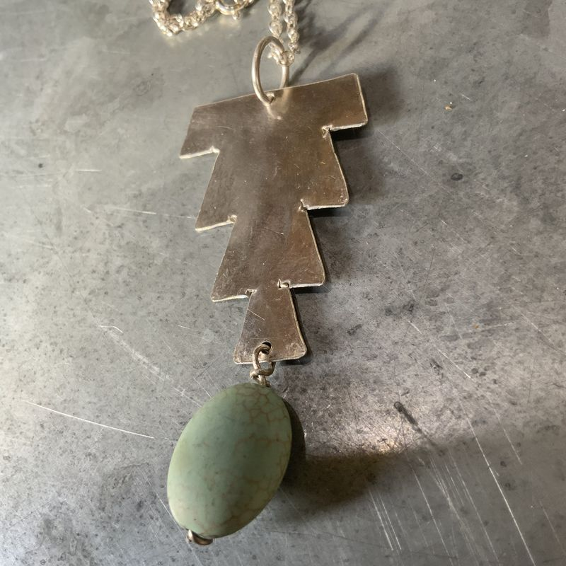 Hammered Sterling Silver Moroccan Necklace with Pale Green Bead - product images  of