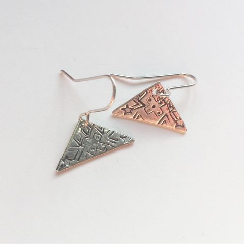Folk,Art,Sterling,Silver,Triangles,Folk Art Sterling Silver Triangles Cross spots diamonds chevron stars