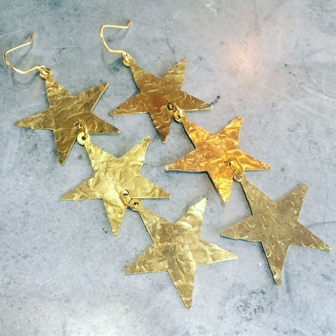 Brass,Star,Cascade,Earrings,Brass Star Cascade Earrings Stars statement