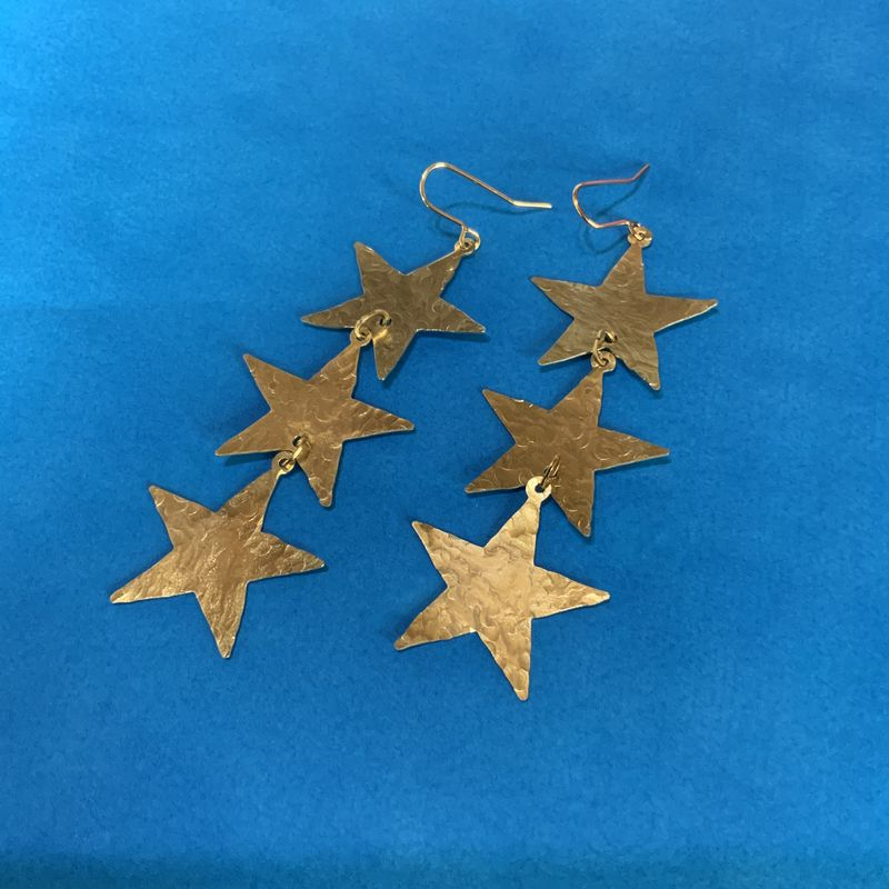 Brass Star Cascade Earrings  - product images  of
