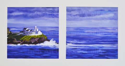 Roches,Point,,Cork,(diptych),Kerry, Collins, Art, Rochespoint, cork, Harbour, lighthouse, seascape, purple, Irishartist