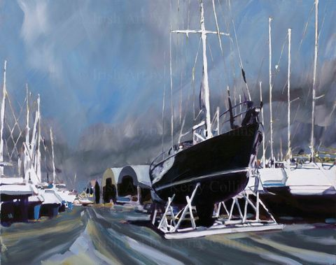 Winter,boatyard,2,Kerry, collins, Art, boatyard, yachts, marina, Crosshaven, Cork, Irishartist, sailing