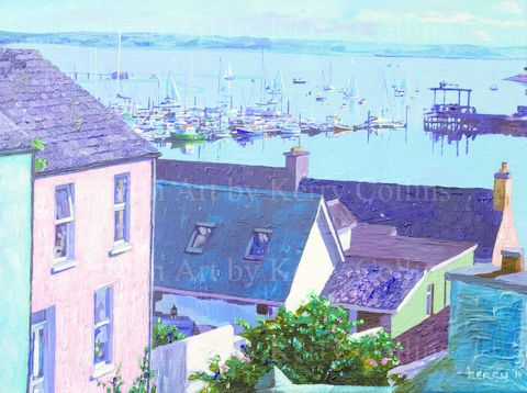 Crosshaven,from,the,Anchor,bar,Kerry, Collins, art, seascene, boats, yachts, Cork, harbour, Irishartist, landscape