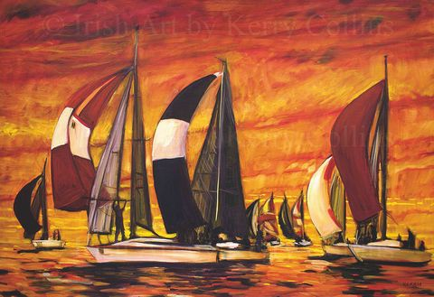 Racing,Reds,Kerry, Collins, Art, yachts, sea, racing, sails, boats, Irishartist, red